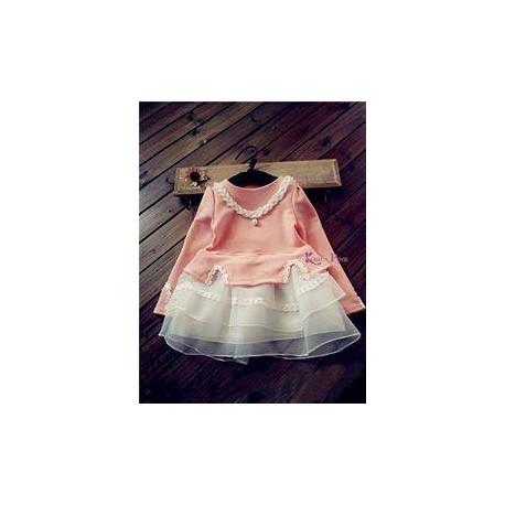 KoreaPink PeachWhite Set(top+skirt+necklace)