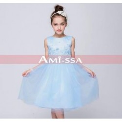 Amissa Blue Tulle Lace Dress