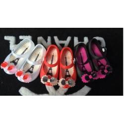 White Ribbon Jelly Shoes