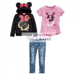 MiniJeans 3in1 Minnie Hoodie Jacket-Rabbit Pink Set