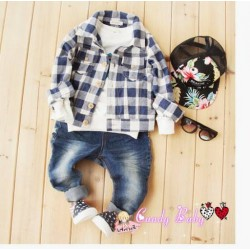 Candy Baby Blue Plaid Shirt+Jeans(no inner)