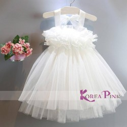 KoreaPink White Ruffle Dress