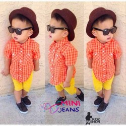 Minijeans Orange Plaid Shirt+Yellow Jeans