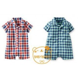 BabyBears Red & Blue Plaid Romper