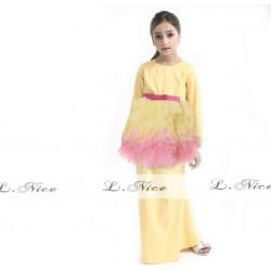 L Nice Yellow Top Tutu Skirt+Scarf