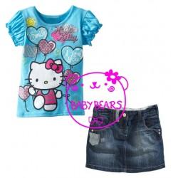 BabyBears Blue HelloKitty Set Jeans Skirt