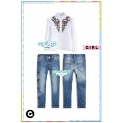 Senshukei White Embroidered Shirt Set Jeans