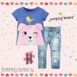 JumpingBeans Yellow Bird Top Set Jeans