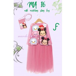 Mardi Amber Pink Tsum-tsum Long Dress+SlingBag