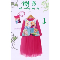 Mardi Amber Fuschia Frozen Long Dress+SlingBag