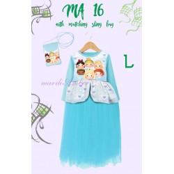 Mardi Amber Blue Tsum-tsum Long Dress+SlingBag