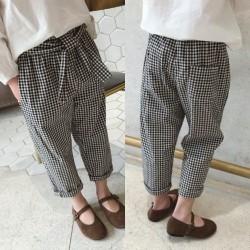 Black Plaid Ribbon Pants